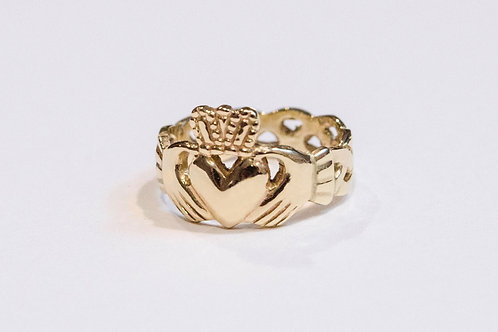 Ladies Gold Heavyweight Claddagh Ring with Celtic Weave Band