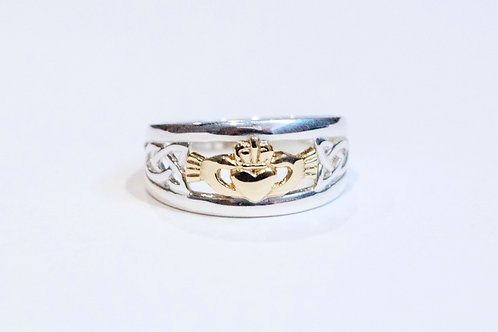 Ladies Two Tone Celtic Claddagh Ring