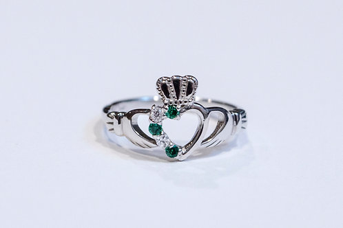 Ladies Silver Emerald Diamond Claddagh Ring