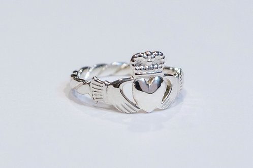 Silver Claddagh Ring with Rope Band