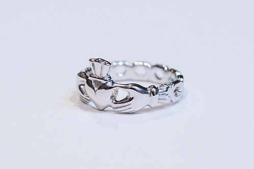 Maids Silver Claddagh Mo Chroi Ring with Pierced Band