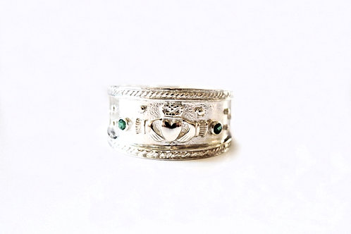 Gents Silver Heavy Stone Set Claddagh Ring