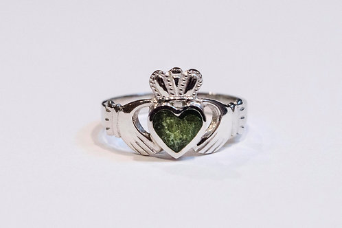 Gent's 14k White Gold Connemara Marble Claddagh Ring