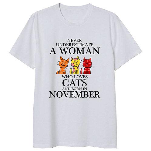 November Born Woman Who Loves Cats Tshirt