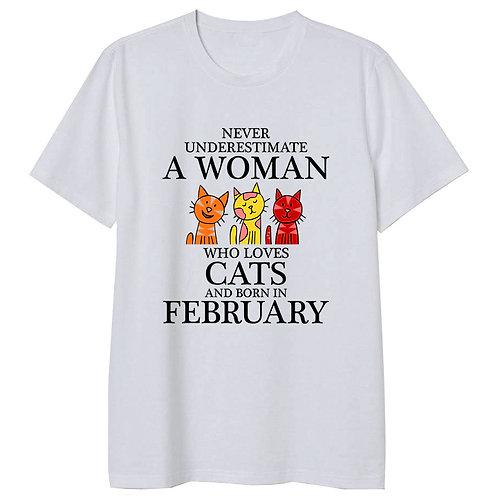 February Born Woman Who Loves Cats Tshirt