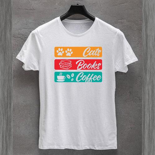 Cats Books Coffee Tshirt