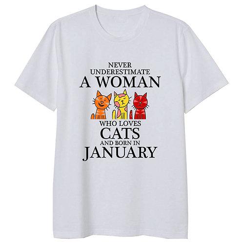January Born Woman Who Loves Cats Tshirt