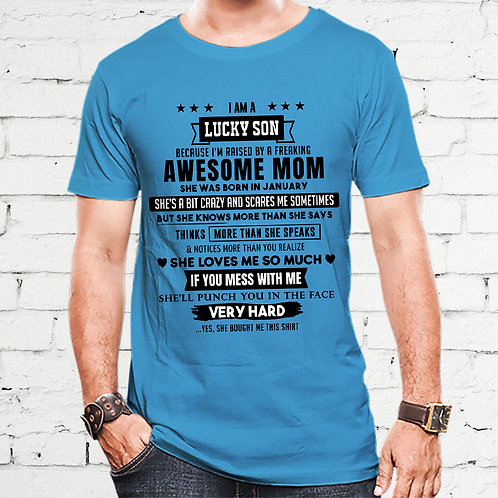 Lucky Son Of January Born Awesome Mom Tshirt