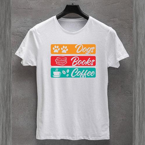Dogs Books Coffee Tshirt