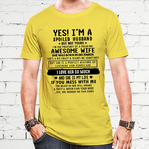 Spoiled Husband Of December Born Awesome Wife Tshirt