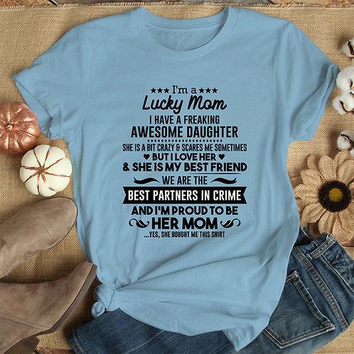Lucky Mom Women Premium Tshirt (Unisex Fit)