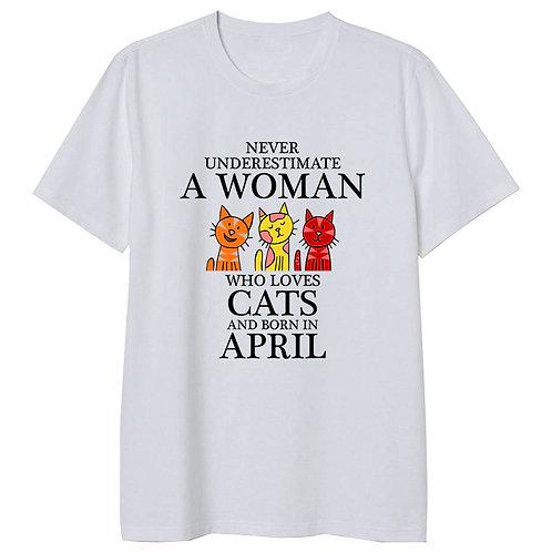 April Born Woman Who Loves Cats Tshirt