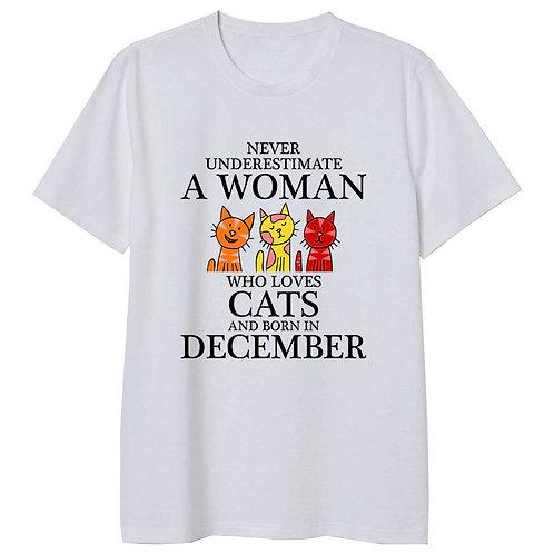 December Born Woman Who Loves Cats Tshirt