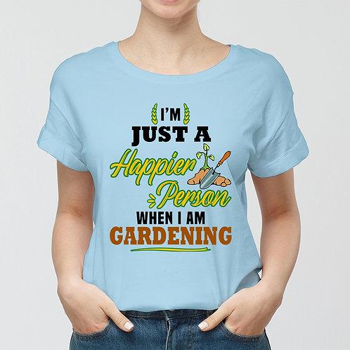 Happier Person When Gardening Women Premium Tshirt (Unisex Fit)