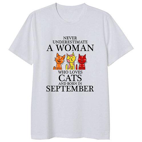 September Born Woman Who Loves Cats Tshirt