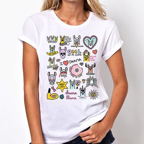 Llama Art Women Tshirt (Unisex Fit)