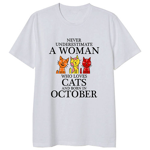 October Born Woman Who Loves Cats Tshirt