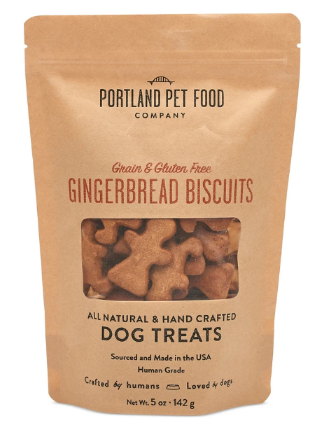 Portland Pet Food Company, Gingerbread Biscuits, Gluten free, Human-grade dog treats