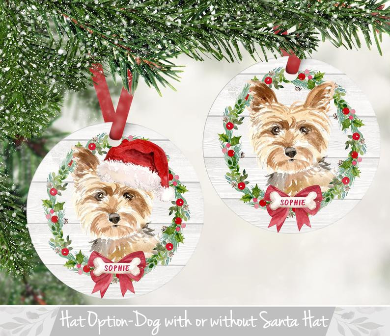 dog ornament, personalized, dog breeds, christmas, ornament