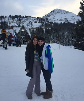 Skiing- mom and daughter