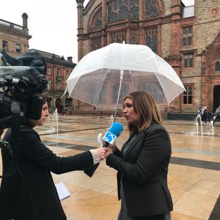 Elisha McCallion of Sinn Fein being interview by Basque TV