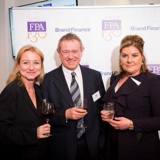 L-R: FPA Dir, Deborah Bonetti, Brand Finance CEO, David Haig; FPA Pres, Benedicte Paviot