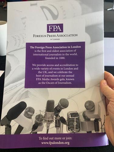 FPA's ad at the MENA Britain Conference 2019