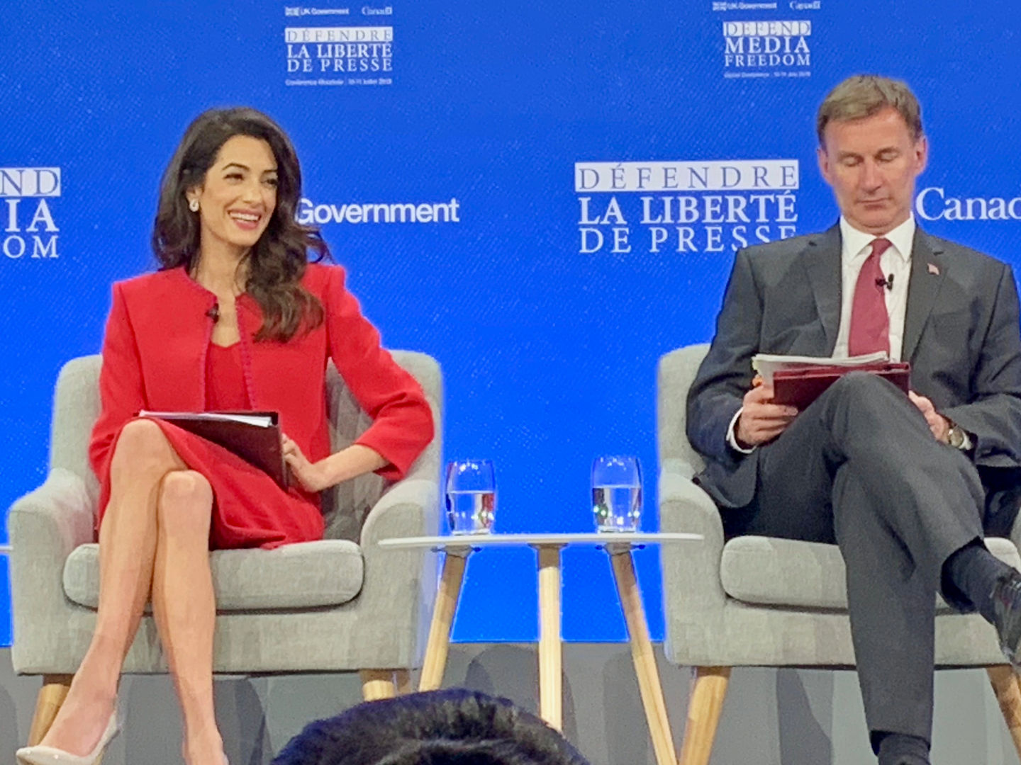 Amal Clooney and Jeremy Hunt (ex-Foreign Secretary)