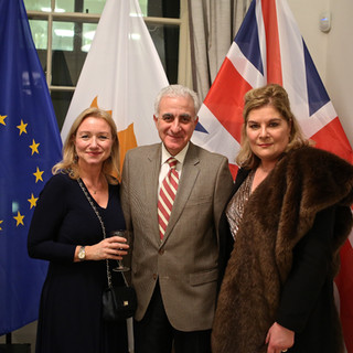 Deborah Bonetti, HE Andreas Kakouris (Cyprus High Commissioner) and Benedicte Paviot with special thanks to Charlie Ercilla for the photos