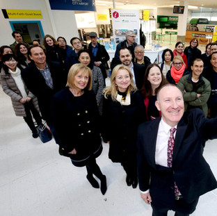 30 FPA members are welcomed at Belfast airport by the Visit Belfast team