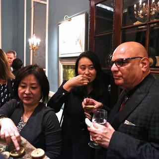 Guests enjoying the canapés
