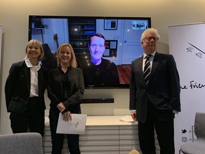 Kate Mosee, Jojo Moyes, Lee Child (via Skype) and Ken Follett at the FPA