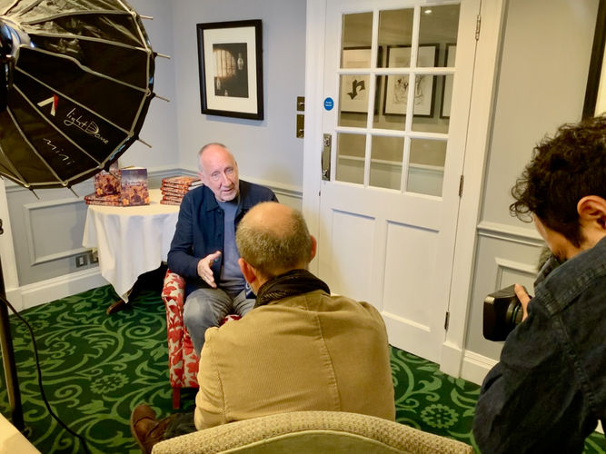 Pete Townshend being interviewed by foreign press