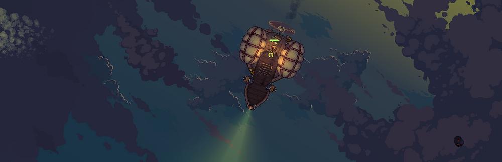 black skylands scenery, airship at night