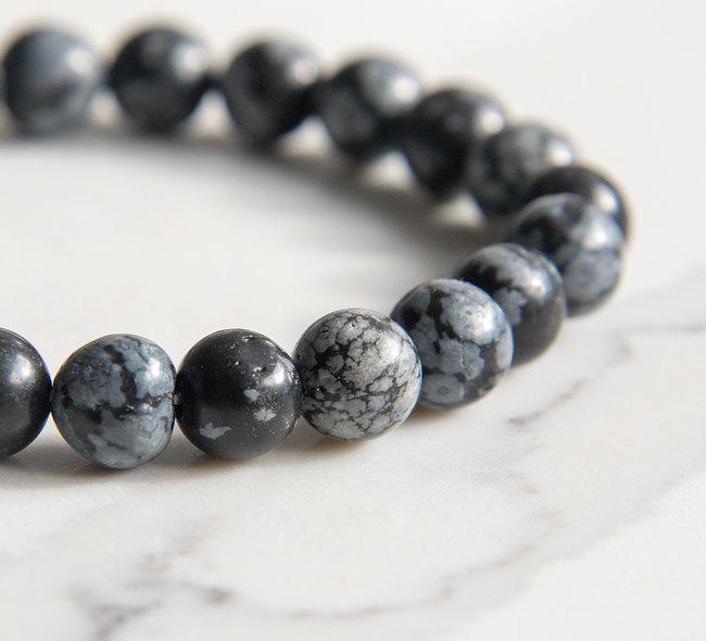 Snowflake Obsidian Stretch Bracelet