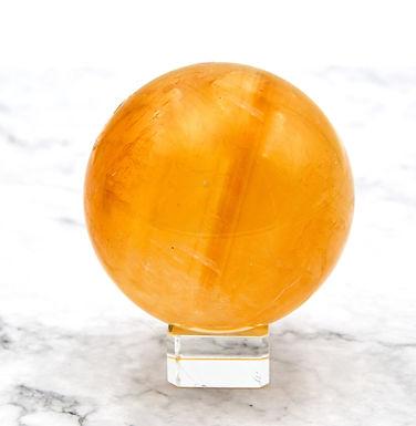 Optical Honey Calcite Sphere
