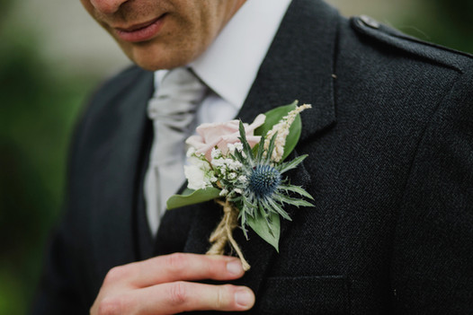 Melrose Abbey Wedding - Country Wedding Flowers - Groom Buttonhole - Scottish Borders