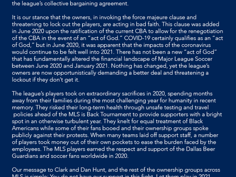 DBG Statement Regarding its Support of the MLSPA in CBA Labor Dispute