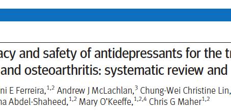 Eficácia dos antidepressivos no tratamento de dor lombar e osteoartrite