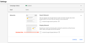 Google Ad Networks Settings