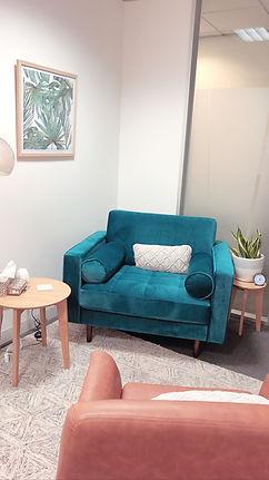 office interior of velvet client chair