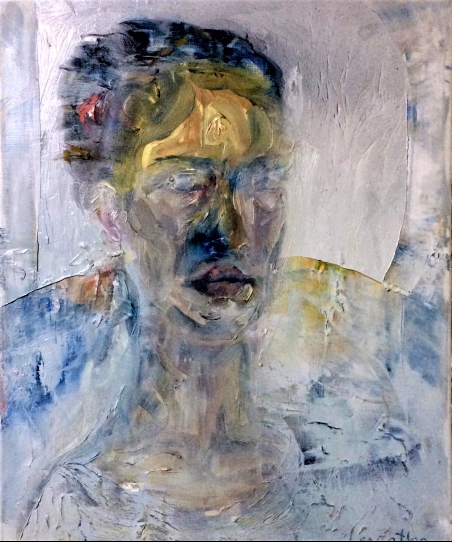 self portrait at age 18, 70x50 cm'