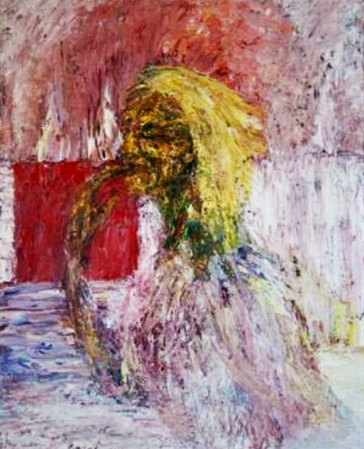woman with a red squre, 80x60 cm'
