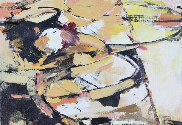 Bala, acrylic 20Wx24H, Abstract Oval Ser