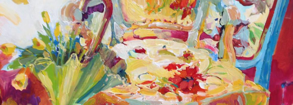 Floral Umbrella 18H x 24W x .5D, Oil on Panel, $700