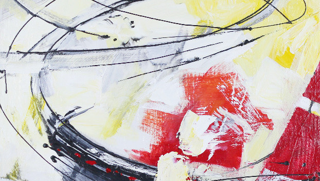 Balas I, acrylic 20Wx24H, Abstract Oval