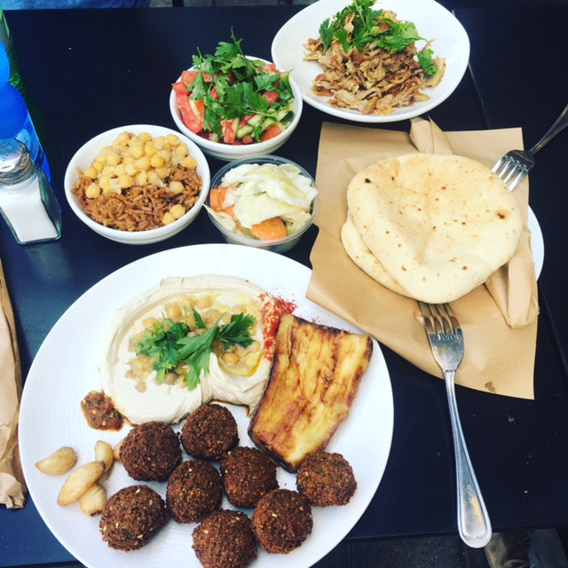 Hakosem Falafel Plate with a side of Shawarma