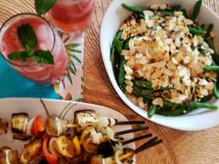 Chicken Kebabs, Green Bean Salad and Agua Fresca - Momjo Eats