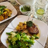Beef Medallions, Squashed Potatoes and All Green Salad - Momjo Eats