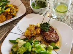 Beef Medallions, Squashed Potatoes and All Green Salad - Momjo Eats
